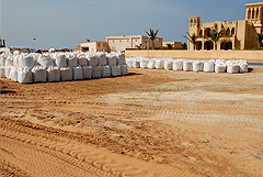 Al Hamra Golf Course preparation - dune sand from the adjacent desert was brought in